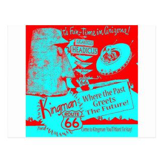 Route 66 1950's UFO Alien Giganticus Headicus Red Postcard
