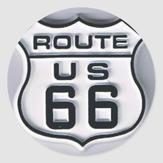 Route 66 3-D looking Round Stickers
