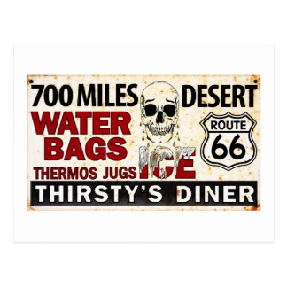 Route 66 - 700 miles desert roadside sign postcard