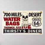 Route 66 - 700 miles desert roadside sign poster