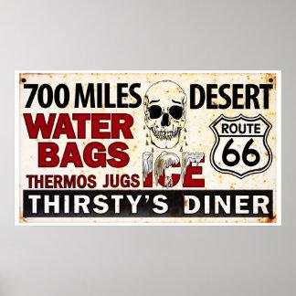 Route 66 - 700 miles desert roadside sign posters