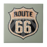 """Route 66 -717 Dot Ceramic Tile<br><div class=""""desc"""">Celebrate America&#39;s &quot;Mother Road, &quot;  with this black and orange Route 66 road sign design,  with orange &quot;reflector dots&quot;. T-shirts,  sweats,  souvenir gift swag.</div>"""