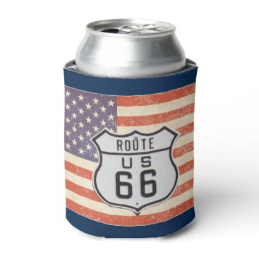 Route 66 American Flag Can Cooler