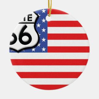 Route 66 American Flag Patriotic Ceramic Ornament
