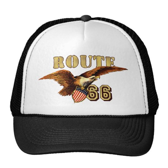Route 66 American flag USA Bald Eagle Trucker Hat