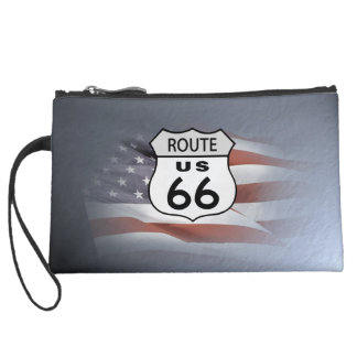 Route 66 America's Highway Suede Wristlet