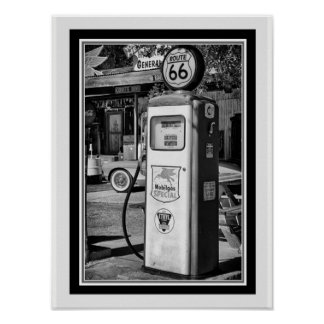 Route 66 B&W Gas Pump Photo 12 x 16 Poster
