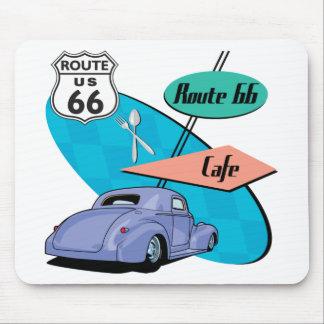 Route 66 Blue Hot Rod Café Mouse Pad