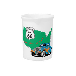 Route 66 Blue Hot Rod Pitchers