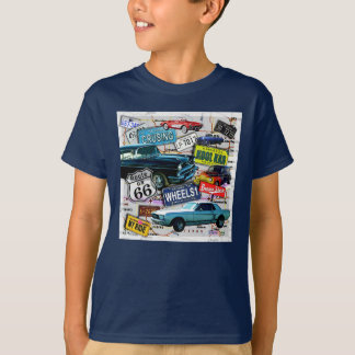 Route 66 - Classic Cars KIDS DARK TEES
