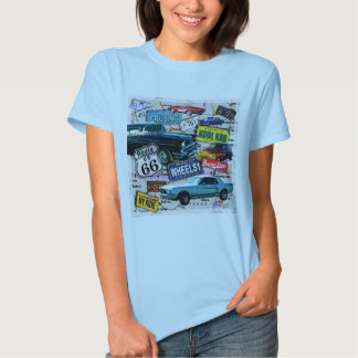 Route 66 - Classic Cars WOMENS LIGHT TEES