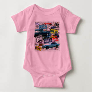 Route 66_ClassicCarsOne_18sq Baby Bodysuit