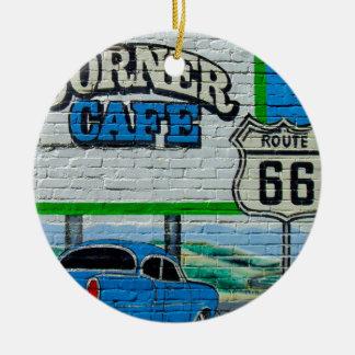 Route 66 Corner Cafe Wall Ceramic Ornament