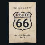 """Route 66 (customizable) towel<br><div class=""""desc"""">Feel free to edit or delete the text.  More items with this design available at:  www.zazzle.com/aura2000/route66</div>"""