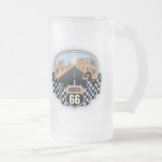 Route 66 Desert Frosted Glass Beer Mug