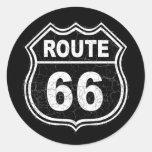 Route 66 Distressed Classic Round Sticker
