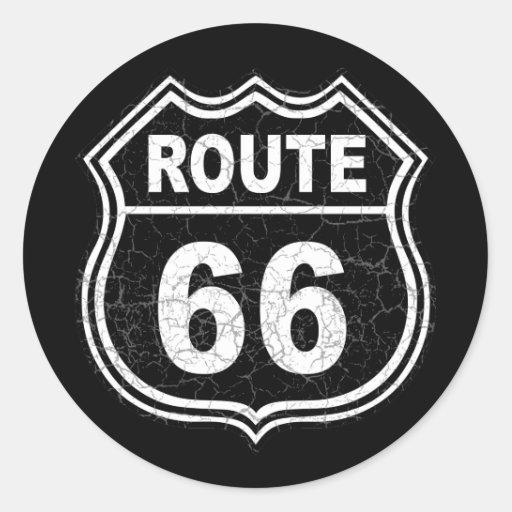 Route 66 Distressed Round Sticker