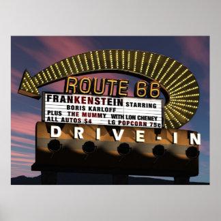Route 66 Drive-In Retro Neon Poster