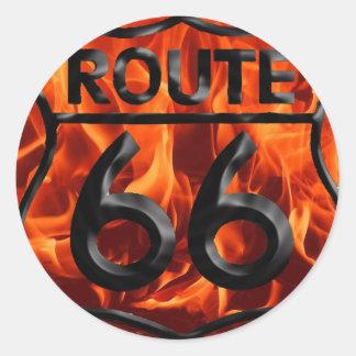 Route 66 Fire 1 Round Sticker