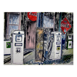 route 66 gas station vintage art poster