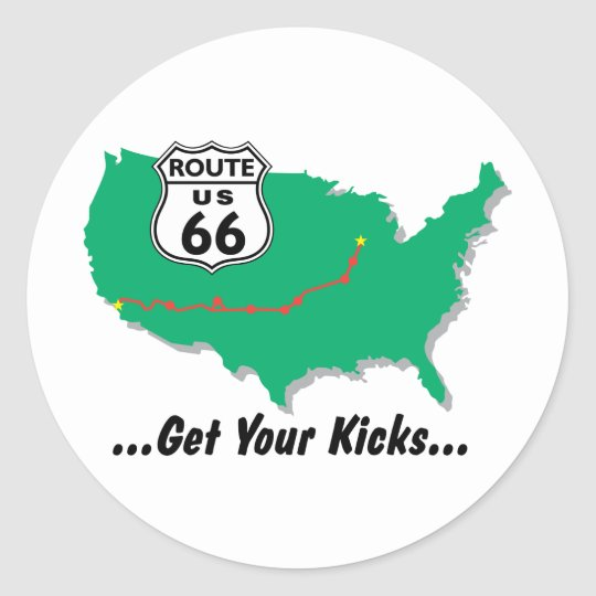 Route 66: Get Your Kicks Classic Round Sticker