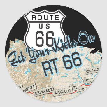 signlady29 route 66 gifts classic round sticker