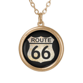 Route 66 gold plated necklace