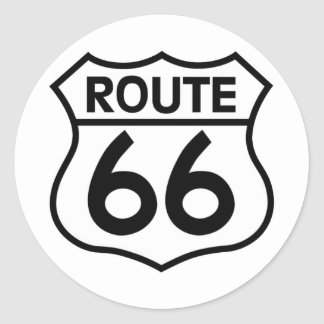 Route 66 Highway Sign Apparel & Gifts Classic Round Sticker