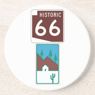 Route 66 - Historic 66 & Scenic Road Drink Coaster