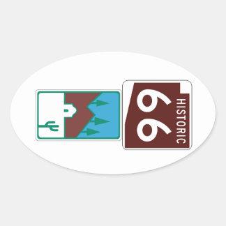 Route 66 - Historic 66 & Scenic Road Oval Stickers