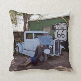 Route 66 Hot Rod Pickup Truck Throw Pillow