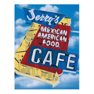 Route 66 Jerry's Cafe Diner Painting Postcard