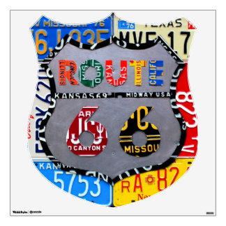 Route 66 License Plate Road Trip Interstate Symbol Wall Sticker