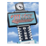 Route 66 Metro Diner Retro Neon Sign Postcard