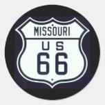 Route 66 Missouri Round Stickers