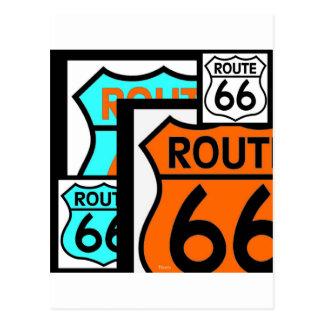 Route 66 Mix Shield Black Postcard