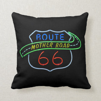 """Route 66 """"Mother Road"""" Neon Sign Throw Pillow"""