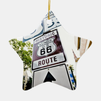 Route 66 Mother Road Double-Sided Star Ceramic Christmas Ornament
