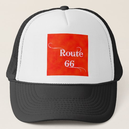 Route 66 Orange Trucker Hat