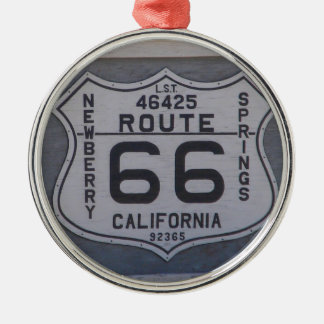 Route 66 round metal christmas ornament