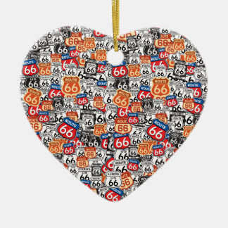 Route 66 Double-Sided heart ceramic christmas ornament