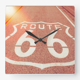 Route 66 Photo Edit - Orange Glow Square Wall Clock