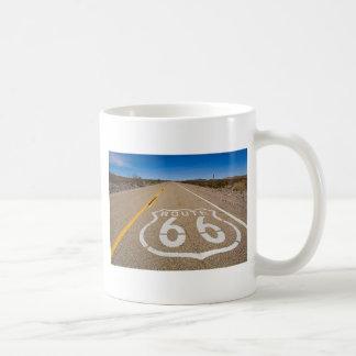 route 66 road sign begin end start road street usa classic white coffee mug