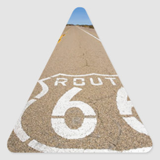 route 66 road sign begin end start road street usa triangle sticker