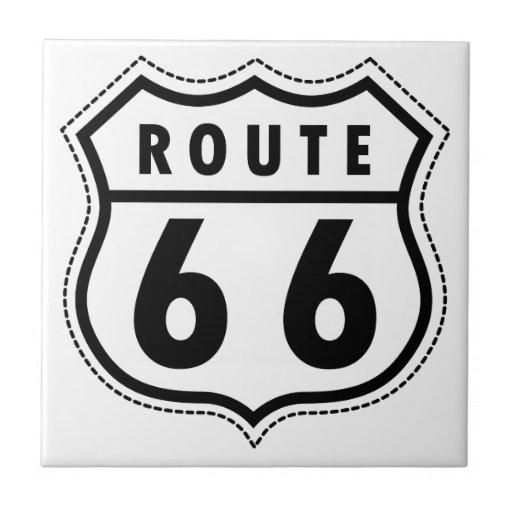 Route 66 Road Sign Ceramic Tile