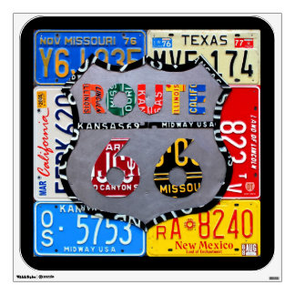 Route 66 Road Sign License Plate Art Wall Decal