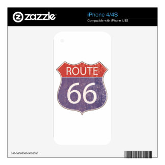 Route 66 Road Sign - red & blue rusty Skins For iPhone 4S