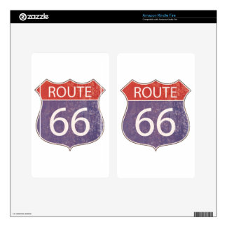 Route 66 Road Sign - red & blue rusty Decals For Kindle Fire