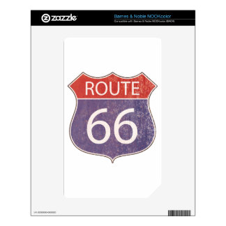 Route 66 Road Sign - red & blue rusty Decal For The NOOK Color