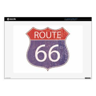 Route 66 Road Sign - red & blue rusty Laptop Decals